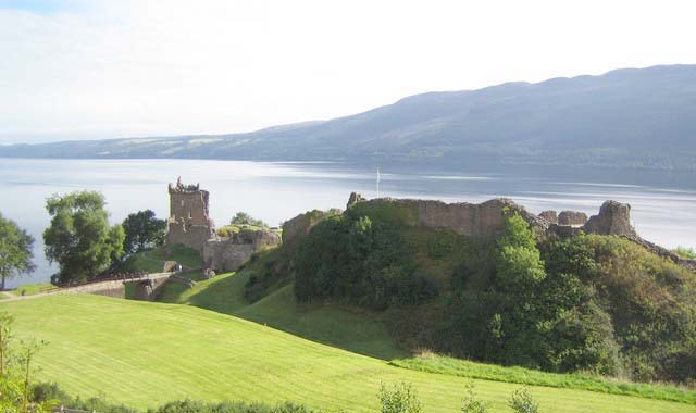 Distant view of Urquhart Castle on Loch Ness