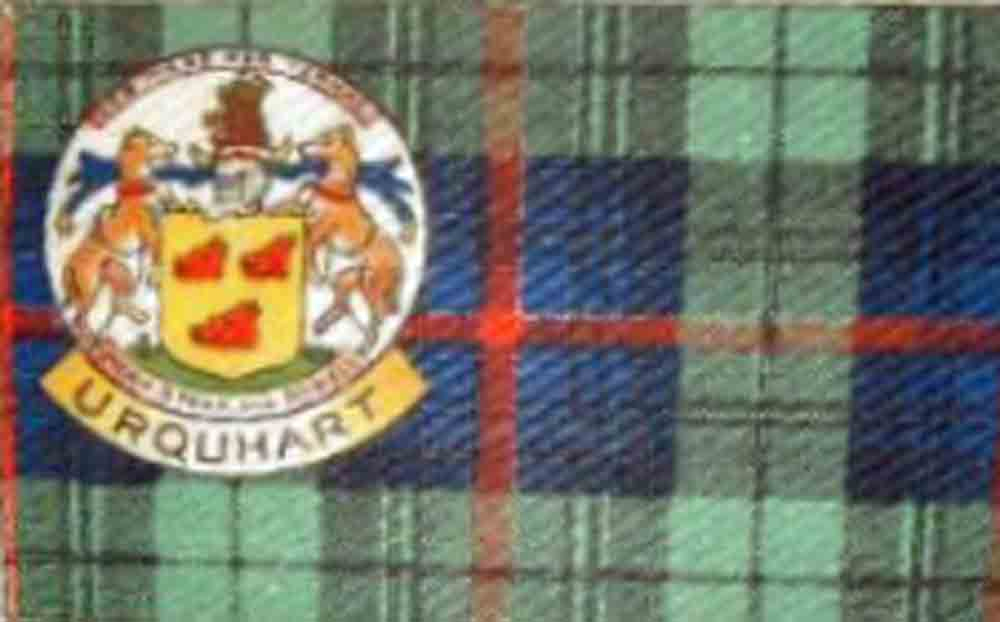 Urquhart clan crest and tartan circa 1920