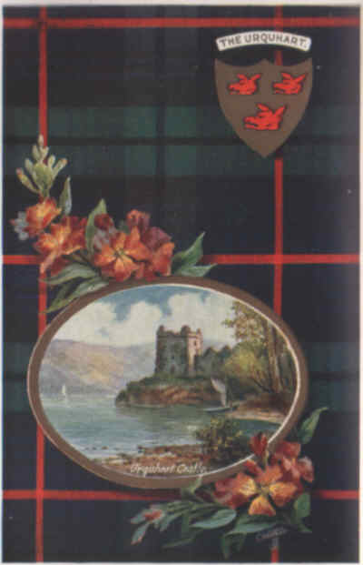 Urquhart tartan, shield, flower and castle